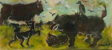 BORIS VASSILOFF Original Signed Oil Painting STRANGE BEASTS?