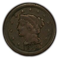 1850 1c Braided Hair Large Cent - Early US Copper Coin - SKU-E103