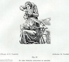 DENTISTA: CURE DENTARIE DALLE ORECCHIE. Medicina. Dentiste.Dentist.Zahnarzt.1929