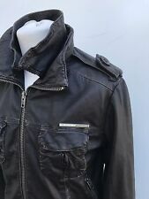 L@@K SUPERDRY LEATHER JACKET MENS SMALL/MEDIUM BROWN ZIP-UP COAT 38""