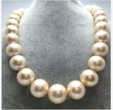 gorgeous 13-15mm south sea round gold pink pearl necklace 18inch
