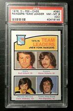 1976-77 76/77 O-Pee-Chee #390 New York Rangers Team Leaders PSA GRADE 8 NM-MT