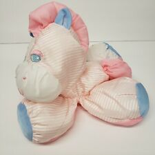 "Vintage Fisher Price 8"" Puffalumps Zebra Pink Blue White Stars Stripes Plush"