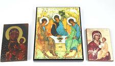 Lot of 3 Religious Wall Plaques Russian Icons Trinity Częstochowa Black Madonna