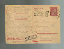 1943 Leipzig Germany Concentration Camp Postcard Cover to Kielce Poland