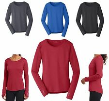 LADIES LONG SLEEVE T-SHIRT, WICKING, BREATHABLE, THUMBHOLE CUFFS ATHLETIC XS-4XL