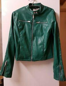 Terranova Outwear Collection Green Faux Leather Short Biker Jacket - Size M