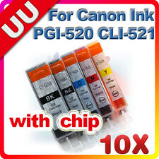 10x Ink Cartridges for CANON ip3600 ip4700 MX860 PGI 520 CLI 521 Printer