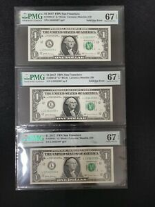 3 Consecutive 2017 US$1 Federal Reserve Note Solid Star Error PMG 67EPQ