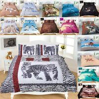 3D Animal Print Duvet Quilt Cover Set with Pillowcase Single Double Super King