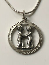 Vintage silver round couple pair pendant and '925' chain necklace LOVE 6.42g
