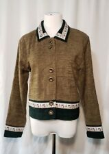 Vintage Christopher Banks Buttoned Jacket Sz Small Brown Chenille Indie Hipster