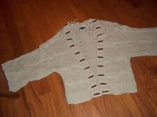 SZ Small AK ANNE KLEIN TAN CARDIGAN STYLE SWEATER FULL SLEEVE 2 BOTTOM SNAPS