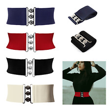 Women Ladies Belt Wide Classic Nurse Vintage Retro Waistband Stretch Elastic