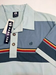 Vintage Hang Ten Multicolor Striped Surfing Polo Shirt Mens Size Large Deadstock