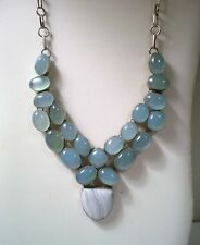 Stunning Sterling 925 Silver Cabochon Blue Chalcedony Agate BIB Necklace 19.5""