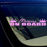 """Princess On Board Girlie Cute Funny Pink Vinyl Decal Sticker 7.5"""" Inches Long"""
