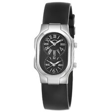 Philip Stein Women's Signature Black Dial Black Rubber Strap Quartz Watch 1MBRB