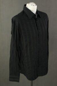 "HUGO BOSS Mens Black Striped Pattern SHIRT Size 16.5"" Collar - Extra Large - XL"
