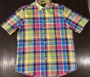rodd and gunn Mens Shirt L Large Rainbow Short Sleeve Original Fit Collared
