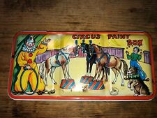 VTG CIRCUS PAINT BOX TIN WATER COLORS CLOWN HORSE DOG PAGE LONDON ENGLAND