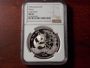 1994 China 1 oz Silver Panda 10 yuan coin NGC MS-69