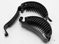 6 Black Plastic Banana Clips Hair Claw Ponytail Holder 75X23mm for DIY Craft