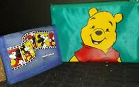 Mickey Mouse Vintage Wallet Blue Disney Billfold and Pooh Pouch