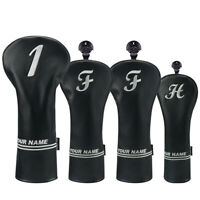 New Black Personalized Golf Headcover Driver Custom Head Covers Fairway Hybrids