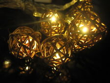 Noma Brown Rattan Wicker Ball LED Battery Fairy Lights, Warm White, Xmas/Wedding
