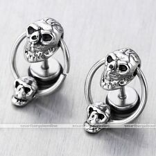 2pc Mens Punk Double Skull Hoop Ring Steel Ear Helix Studs Earring Bars Piercing