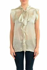 Just Cavalli Women's 100% Silk Tie Up Sleeveless Blouse Top US S IT 40