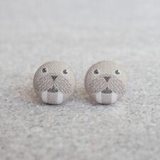 Walrus Fabric Button Earrings