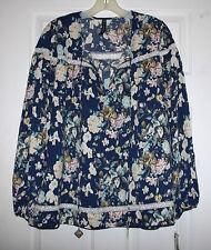 Cirana Womens L Navy Print Crochet Trim Keyhole Baby Doll Top Tunic NWT