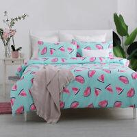 Summer Fruit Watermelon Print Duvet Cover w/PC Pink Quilt Cover Bedding Set