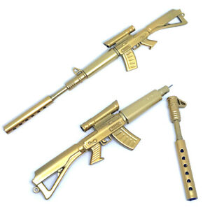 Novelty Gold Rifle Shaped Black Ink Ball point Pen Stationery Office Ball Point