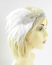 White Silver Feather Headband Headpiece 1920s Flapper Great Gatsby Vintage 2260