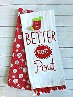 Set of 2 Christmas dish towels Set Better Not Pout Kitchen decor snowflakes