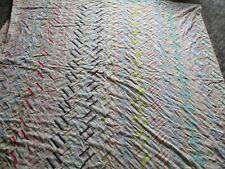 Vintage Handmade Quilt,  Patchwork Feed sack Fabrics  76 x 79