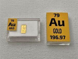 Pure 99.9% 24k Gold 1/4 0.25 Grain Ingot Bullion Bar  in Periodic Element Bottle