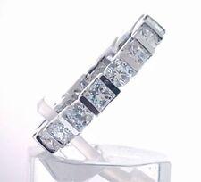 3.60 carat Round & Princess cut Diamond Eternity Band 14k White Gold Size 6 F Vs