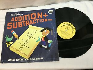 Walt Disney Addition + Subtraction Jiminy Cricket and Rica Moore Record Lp Child
