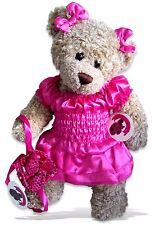Teddy Bear Clothes fits Build a Bear Candy Satin RaRa Dress Bows + FREE  Bag