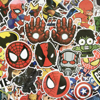 50 PVC Batman Spiderman Superman Hulk Kids Marvel Superhero Stickers Stickerbomb