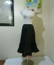 50s Stern Maid Black Nylon Tiered W/Pink Tulle Under Ruffles Long Half Slip