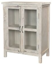 "38"" Tall Mirla Cabinet Double Doors Antiqued White Wood Glass Panels Side Table"