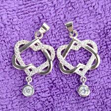 Silber überzogene Frauen Double Heart Anhänger Halskette Kette Schmuck Charm
