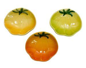 Williams Sonoma Jardin Potager Dipping Bowls Orange Yellow Heirloom Tomato Set 3