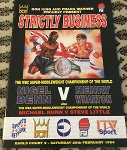 NIGEL BENN V HENRY WHARTON-WBC SMWC-1994-BOXING PROGRAM-SEE MY OTHER BOXING!!!