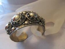 "Vintage Antique Huge Siam Sterling Silver Wide Cuff Bracelet ""Rare"""